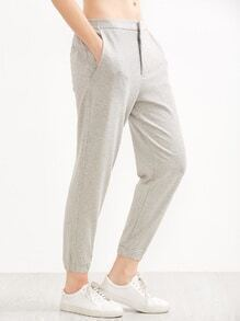 Grey Elastic Waist Pocket Sports Pants