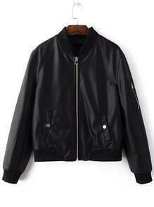 Black Zipper UP Flight Jacket With Pockets