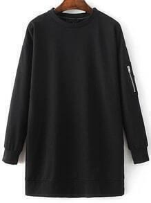 Black Long Sleeve Sweatshirt Dress With Zipper