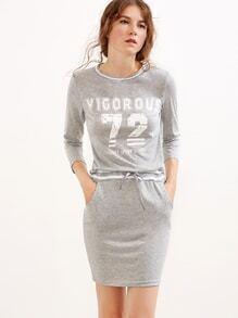 Grey Printed Striped Drawstring Waist Pockets Dress