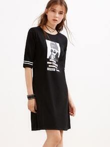 Black Girl Print Varsity Striped Tee Dress