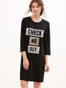 Black Letter Sequined Slit Side Tee Dress