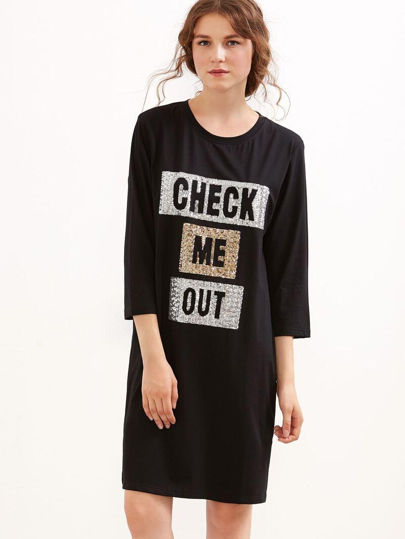830696bb1078 Vestido camiseta lentejuelas de letras abertura lateral - negro