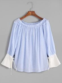 Blue Striped Boat Neck Contrast Tie Sleeve Blouse