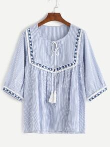 Vertical Striped Tie Neck Blouse With Embroidered Tape Detail
