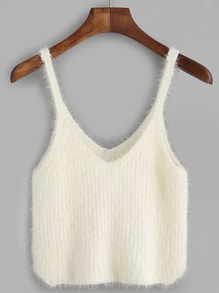 White Fuzzy Crop Cami Top