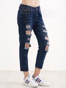 Dark Blue Paint Splatter Print Ripped Jeans