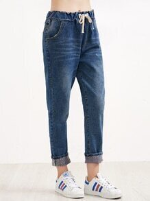 Blue Rolled Hem Drawstring Jeans With Print Lining Detail