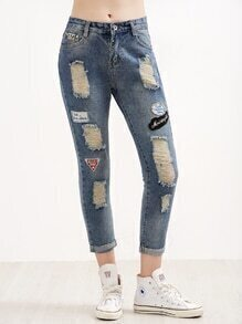 Blue Ripped Embroidered Patches Rolled Hem Jeans