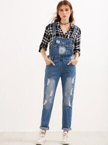 Blue Ripped Rolled Hem Overall Jeans