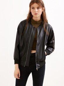 Black Drop Shoulder Faux Leather Jacket With Zipper