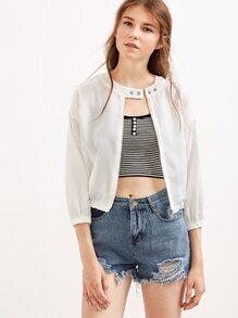 White Three Quarter Length Sleeve Zipped Jacket