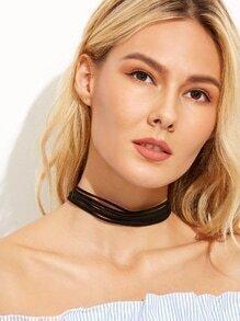 Black Multi Strand Cord Choker Necklace