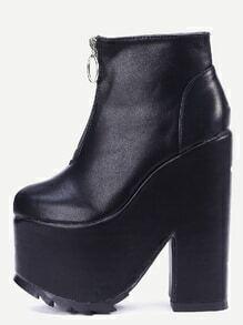 Black Faux Leather Zipper Platform Boots