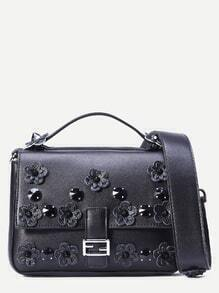 Black Flowers And Rivet Embellished Satchel Bag