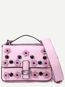 Pink Flowers And Rivet Embellished Satchel Bag