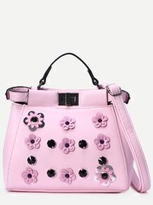Pink Flowers And Rivet Embellished Tote Bag With Strap