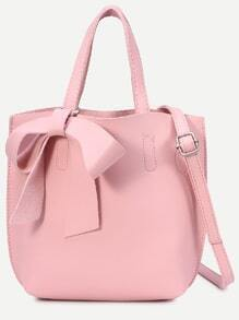 Pink Faux Leather Bow Detail Tote Bag With Strap