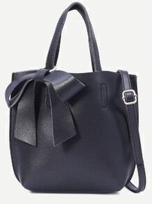 Black Faux Leather Bow Detail Tote Bag With Strap