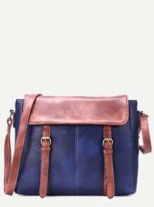 Blue Faux Leather Satchel Bag