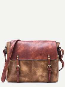 Khaki Faux Leather Satchel Bag