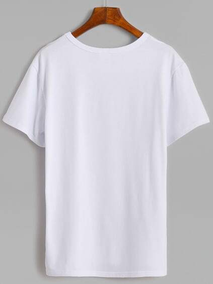 White Cactus Print T-shirt