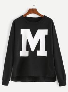 Black Letter Print Drop Shoulder Dip Hem Sweatshirt