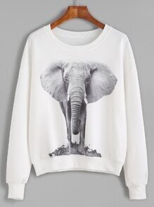 White Elephant Print Drop Shoulder Sweatshirt