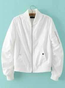 White Zipper Up Flight Jacket With Pockets