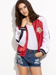 Red Embroidery Zipper Up Varsity Jacket