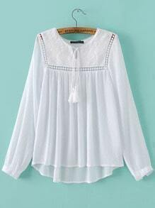 White Embroidered Pleated Fringe Dip Hem Blouse