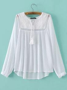 White Embroidered Pleated Fringe Dip Hem Blouse