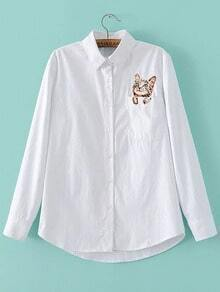 White Cat Embroidery Pocket Blouse With Buttons