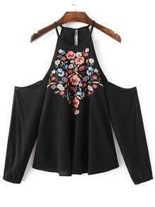 Black Flower Embroidered Open Shoulder Top