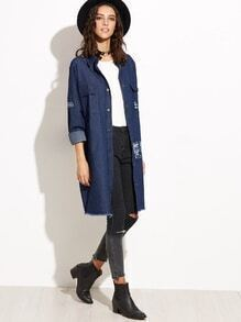 Blue Single Breasted Frayed Patch Long Denim Coat