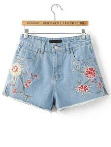 Blue Flower Embroidered Frayed Denim Shorts