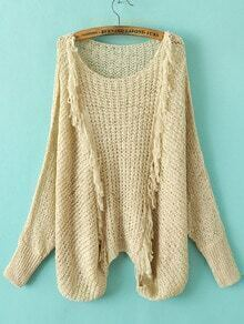 Khaki Hollow Out Fringe Detail Batwing Sleeve Sweater