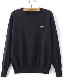 Black Seagull Embroidered Ribbed Trim Knitwear