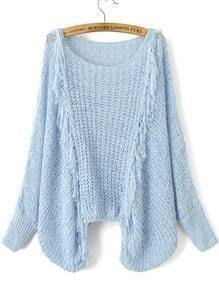 Blue Hollow Out Fringe Detail Batwing Sleeve Sweater