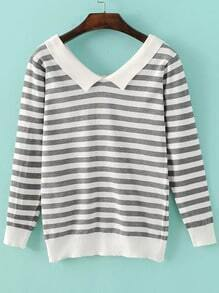 Grey Chelsea Collar Striped Knitwear