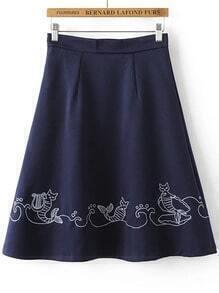 Navy Embroidery Zipper Side A Line Midi Skirt