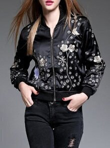 Black Zipper Embroidered Elastic-Waist Jacket Coat