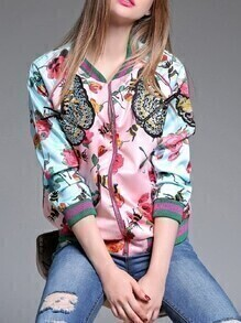 Multicolor Butterfly Flowers Print Zipper Coat