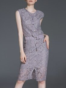 Purple Drawstring Split Sheath Lace Dress