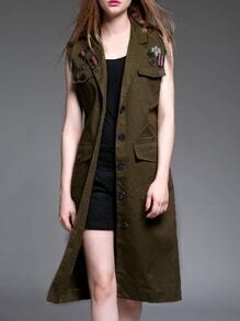 Army Green Lapel Tie-Waist Vest