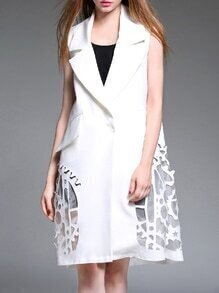 White V Neck Pockets Crochet Hollow Out Vest