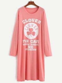 Pink Clover And Letter Print Drop Shoulder Tee Dress
