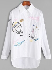 White Cartoon Embroidered Dip Hem Blouse