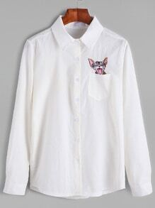 White Cat Embroidered Pocket Shirt