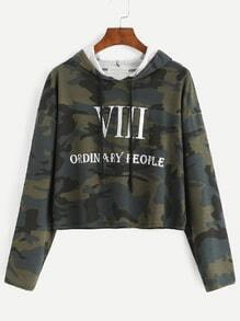 Camo And Letter Print Drop Shoulder Hooded Crop T-shirt